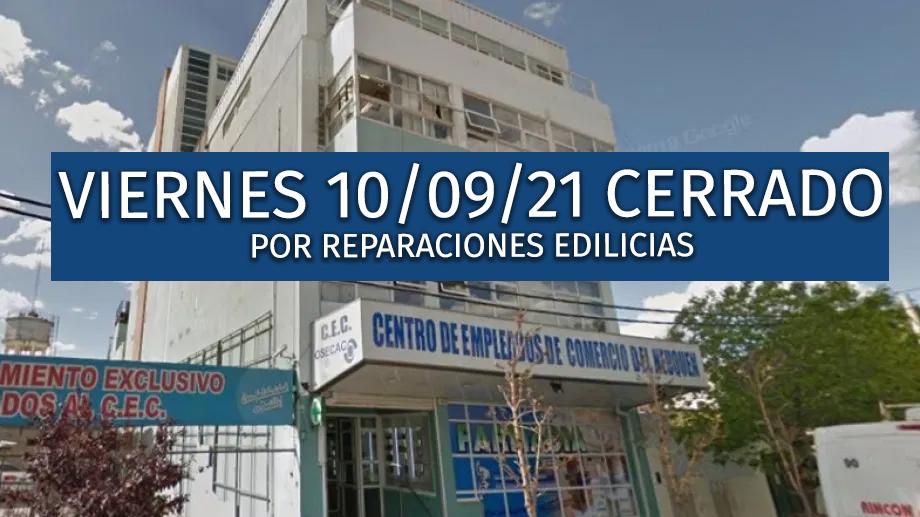 VIERNES 10 CERRADO POR REPARACIONES